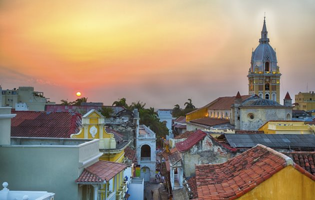 Solnedgang over Cartagena i Colombia